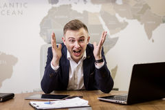 Business, people, stress, emotions and fail concept - angry busi Royalty Free Stock Photo