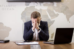 Business, people, stress, emotions and fail concept - angry busi Stock Photography
