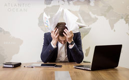 Business, people, stress, emotions and fail concept - angry busi Stock Images