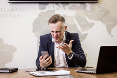 Business, people, stress, emotions and fail concept - angry busi Stock Image