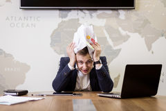 Business, people, stress, emotions and fail concept - angry busi Royalty Free Stock Photos