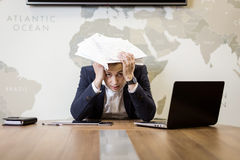 Business, people, stress, emotions and fail concept - angry busi Royalty Free Stock Image