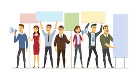 Business people on strike - modern cartoon people characters illustration. Isolated on white background. A composition with man, male workers holding boards royalty free illustration