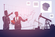 Business People Study Pumpjack Oil Rig Sucess Graphic Crane Platform Banner. Flat Vector Illustration Royalty Free Stock Photography