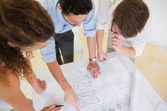 Business people studying blueprint Stock Photography