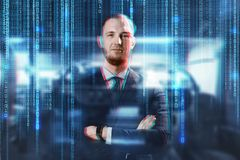 Businessman over binary code background. Business, people, style and office worker concept - businessman in suit over binary code on abstract background royalty free stock photo