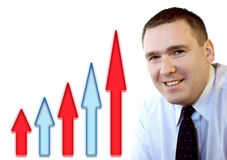 Business People - Success. Businessman and climbing arrows as a sign of profits growing or just success Stock Images