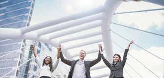 Business People Success Team Celebration Concept teamwork Hands raise stock photos