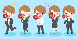 Business people take microphone. Cute cartoon business people take microphone and shout to you Stock Image