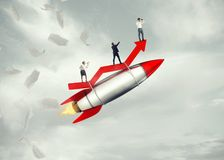 Take-off business success. 3D Rendering. Business people take off on a rocket. 3D Rendering Royalty Free Stock Images