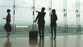 Business people talking in airport terminal. Asian business man and woman in formal wear standing and talking in airport terminal building stock footage