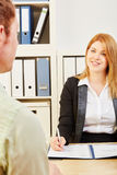 Business people talking during an application interview Royalty Free Stock Photos