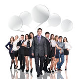 Business people talking with dialog bubbles Royalty Free Stock Photography