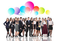 Business people talking with dialog bubbles. Over white background Royalty Free Stock Image