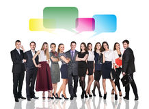Business people talking with dialog bubbles. Over white background Royalty Free Stock Photo