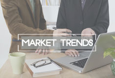 Business people talking discussing concept market trends. In workplace royalty free stock image