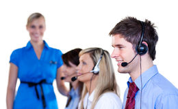 Business people talking with headset Stock Image