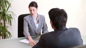 Business people talking during an interview. In an office stock footage