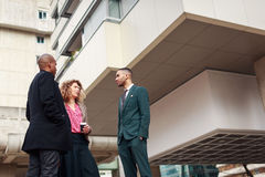 Business People Talking In La Defense, Paris, France Stock Images
