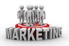 Business people on target market. 3d render of Business people on target market Stock Photos