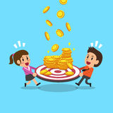 Business people with target and money coins Royalty Free Stock Photos