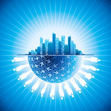 Business people team in the city with globe Stock Photography