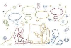 Business People Team Conference Or Training Doodle Group Of Businesspeople Sit At Desk Together Brainstorming Meeting. Vector Illustration stock illustration