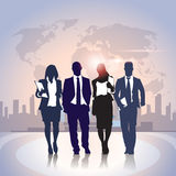 Business People Team Crowd Black Silhouette Businesspeople Group over World Map City Background Royalty Free Stock Photo