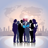 Business People Team Crowd Silhouette Businesspeople Group Hold Document Folder Over World Map Royalty Free Stock Images