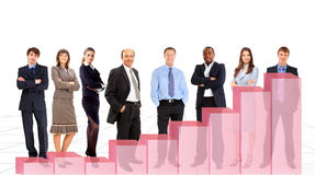 Business people team and diagram Stock Photo