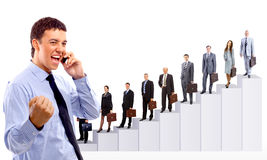 Business people team and diagram Royalty Free Stock Photo