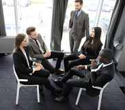 Business people team discussing together business plans. Stock Photo