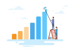 Business People Team Drawing Financial Bar Graph Finance Success Concept. Flat Vector Illustration Stock Image
