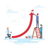 Business People Team Drawing Financial Graph Arrow Up Finance Success Concept. Flat Vector Illustration Stock Photo