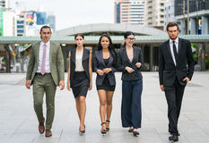 Business people team enjoy with they success job. Portrait of business men and women team work royalty free stock photos