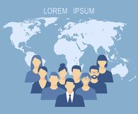 Business people team flat design illustration over background world map Royalty Free Stock Images