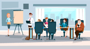Business People Team With Flip Chart Seminar Training Conference Brainstorming Presentation Royalty Free Stock Photos