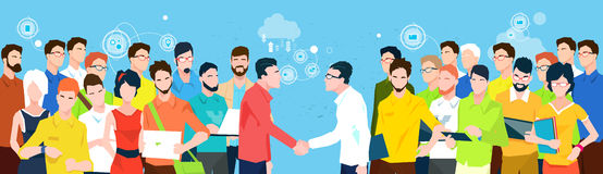Business People Team Managers Shake Hand Banner Royalty Free Stock Image