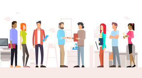 Business People Team Managers Shake Hand Office Interior Royalty Free Stock Image