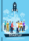 Business People Team Managers Shake Hand Successful Startup. Flat Vector Illustration Stock Image