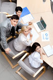 Business people at the team meeting. Discuss current issues at the modern office building. Communication Stock Photo