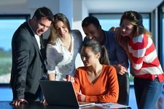 Business people team on meeting. At bright office space Royalty Free Stock Image