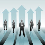 Business People Team on Move Up Arrows Royalty Free Stock Images