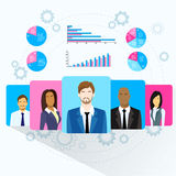 Business People Team Profile Icon Finance Chart. Diagram Social Media Marketing Target Group Audience Information Flat Vector Illustration Stock Photos