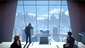 Business People Team, Rear View Cityscape, dolly shot stock footage