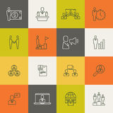 Business people team relationship, human management thin line. Vector illustration Stock Photography