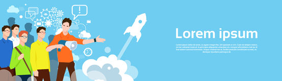 Business People Team Show Spaceship Successful Startup Space. Flat Vector Illustration Stock Photography
