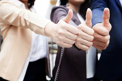 Business people team show thump up together for agreement sign, Royalty Free Stock Images