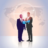 Business People Team Silhouette Businessman Hold Document Folders Over World Map Royalty Free Stock Images