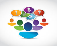 Business people team silhouettes with speech Royalty Free Stock Photos